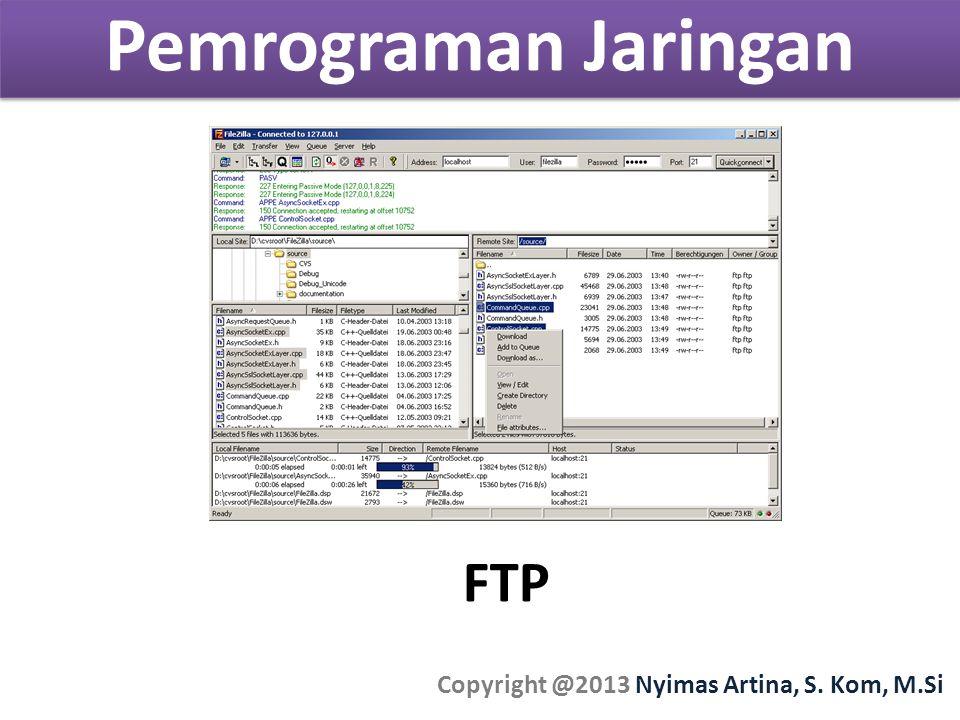 Pemrograman Jaringan Copyright @2013 Nyimas Artina, S. Kom, M.Si FTP