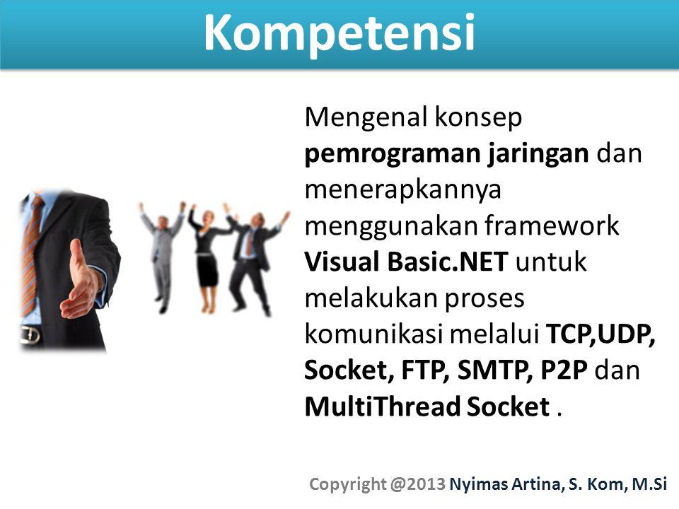 Kompetensi Copyright @2013 Nyimas Artina, S. Kom, M.Si Mengenal konsep pemrograman jaringan dan menerapkannya menggunakan framework Visual Basic.NET u