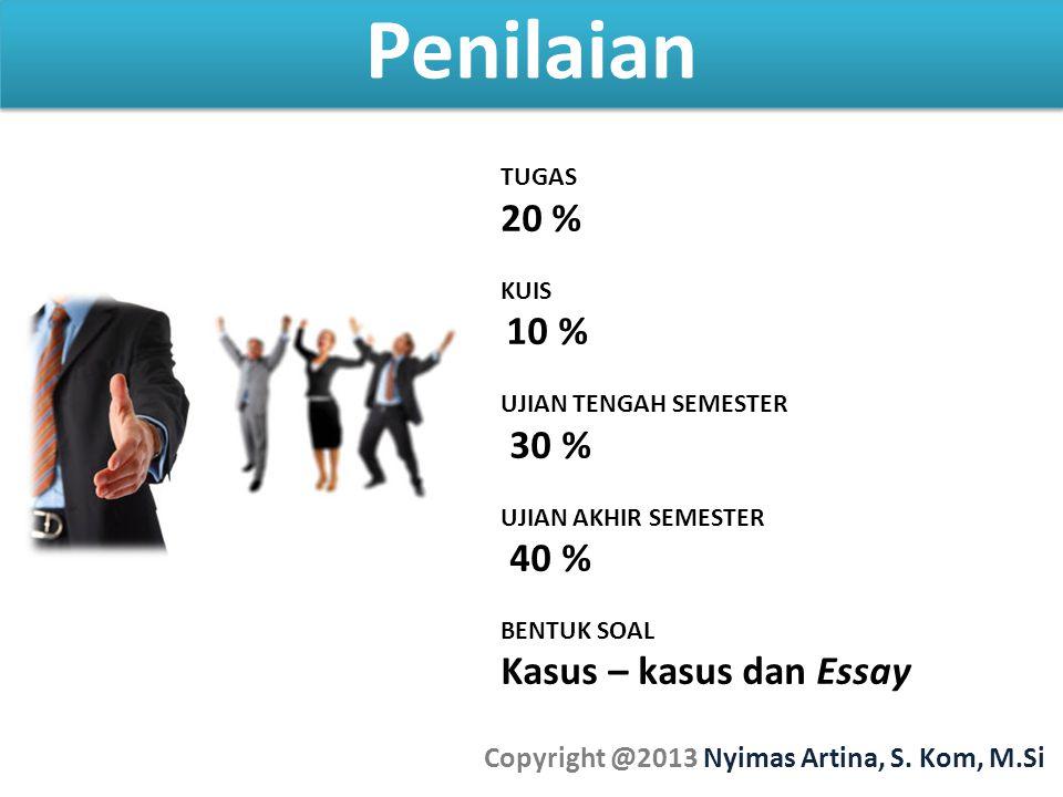 Penilaian Copyright @2013 Nyimas Artina, S. Kom, M.Si TUGAS 20 % KUIS 10 % UJIAN TENGAH SEMESTER 30 % UJIAN AKHIR SEMESTER 40 % BENTUK SOAL Kasus – ka