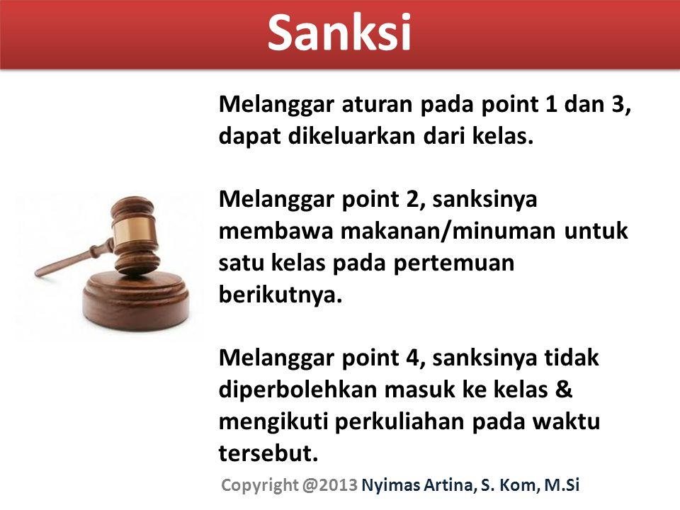 Sanksi Copyright @2013 Nyimas Artina, S. Kom, M.Si Melanggar aturan pada point 1 dan 3, dapat dikeluarkan dari kelas. Melanggar point 2, sanksinya mem