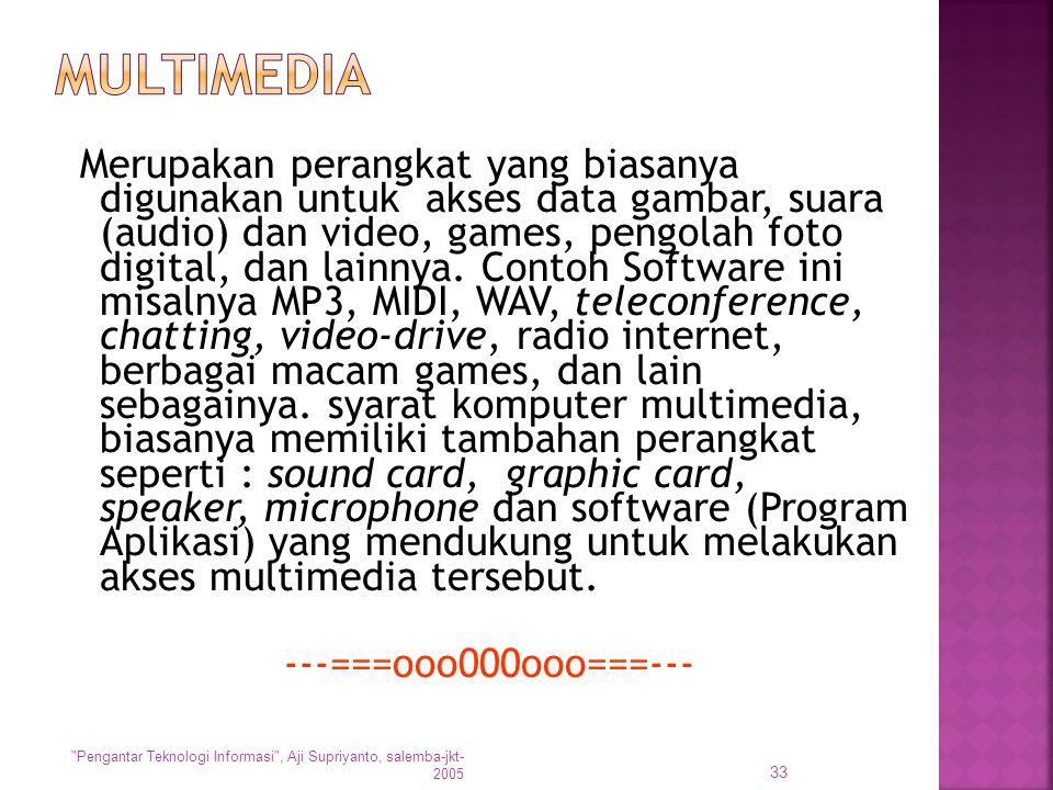 Merupakan perangkat yang biasanya digunakan untuk akses data gambar, suara (audio) dan video, games, pengolah foto digital, dan lainnya. Contoh Softwa