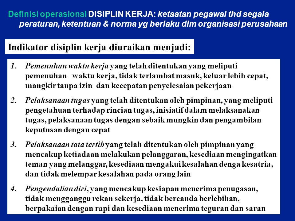 Definisi operasional DISIPLIN KERJA: ketaatan pegawai thd segala peraturan, ketentuan & norma yg berlaku dlm organisasi perusahaan Indikator disiplin