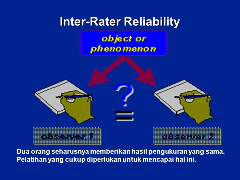 Inter-Rater Reliability Dua orang seharusnya memberikan hasil pengukuran yang sama. Pelatihan yang cukup diperlukan untuk mencapai hal ini.