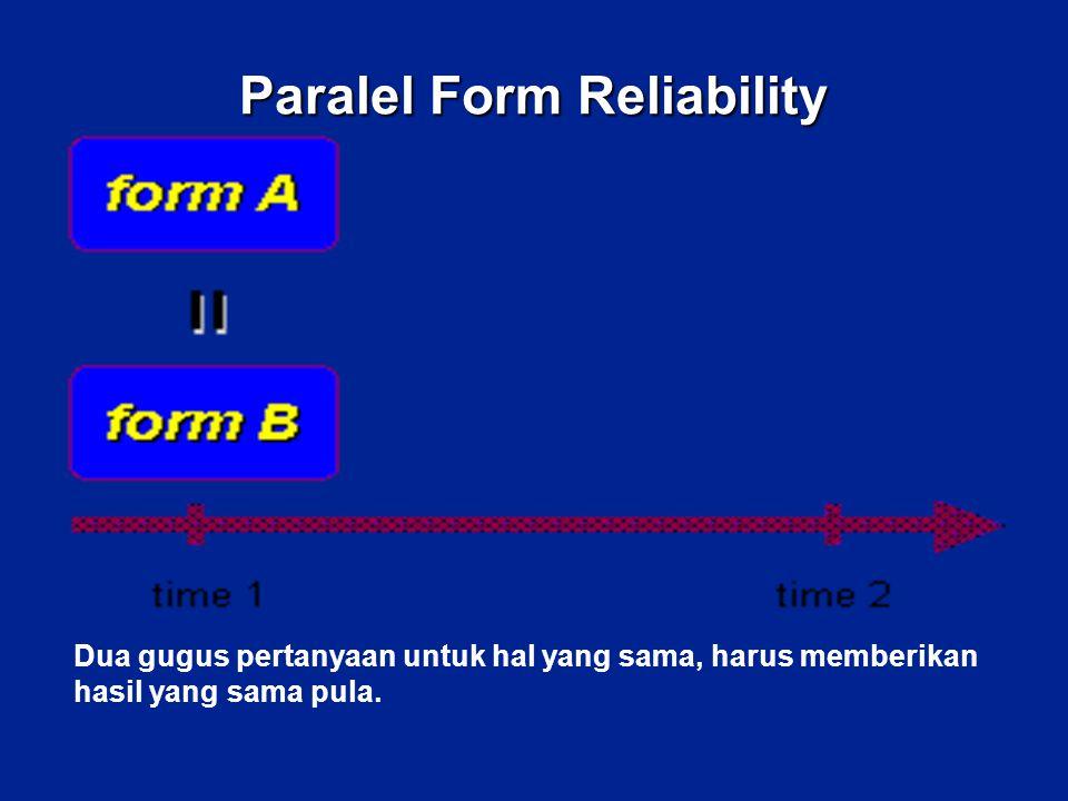 Paralel Form Reliability Dua gugus pertanyaan untuk hal yang sama, harus memberikan hasil yang sama pula.