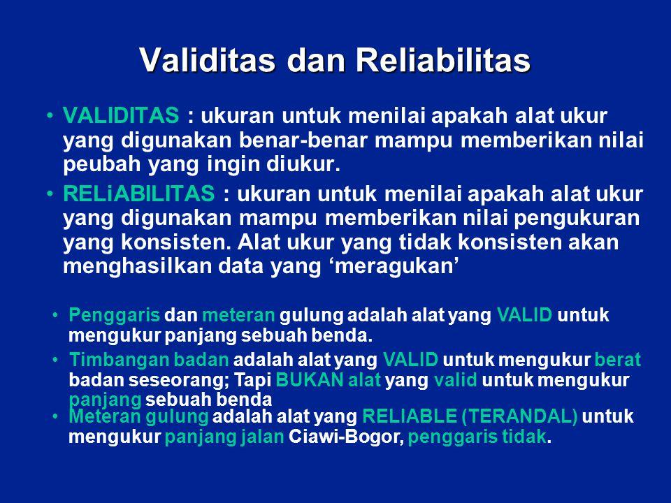 Validitas dan Reliabilitas VALIDITAS : ukuran untuk menilai apakah alat ukur yang digunakan benar-benar mampu memberikan nilai peubah yang ingin diuku