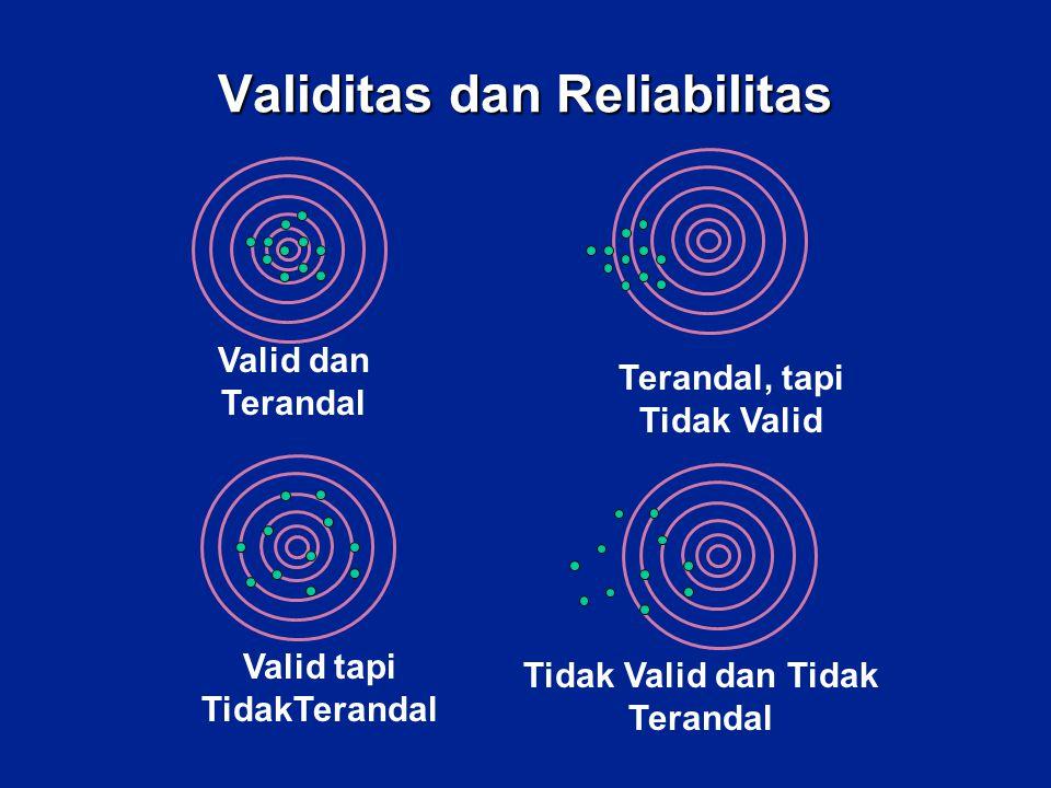 Validitas -Pengukuran (pertanyaan) secara lugas dan didukung ilmu yang bersangkutan umumnya tidak perlu lagi diragukan kevalidannya -Pengukuran (pertanyaan) yang merupakan uraian dari sebuah variable memerlukan pemeriksaan kevalidan.