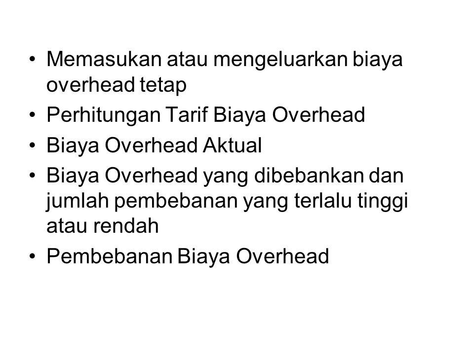 Memasukan atau mengeluarkan biaya overhead tetap Perhitungan Tarif Biaya Overhead Biaya Overhead Aktual Biaya Overhead yang dibebankan dan jumlah pemb