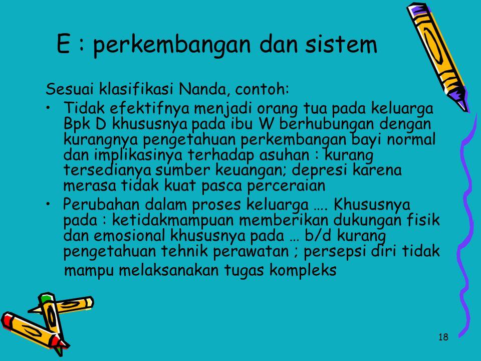 18 E : perkembangan dan sistem Sesuai klasifikasi Nanda, contoh: Tidak efektifnya menjadi orang tua pada keluarga Bpk D khususnya pada ibu W berhubung