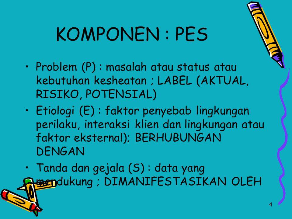 4 KOMPONEN : PES Problem (P) : masalah atau status atau kebutuhan kesheatan ; LABEL (AKTUAL, RISIKO, POTENSIAL) Etiologi (E) : faktor penyebab lingkun