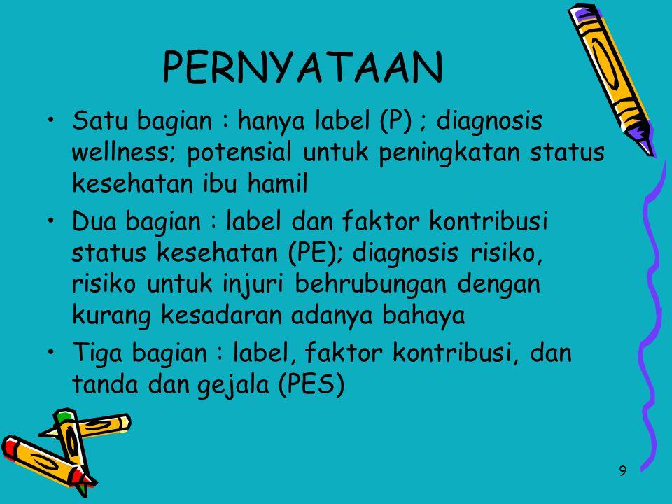 9 PERNYATAAN Satu bagian : hanya label (P) ; diagnosis wellness; potensial untuk peningkatan status kesehatan ibu hamil Dua bagian : label dan faktor