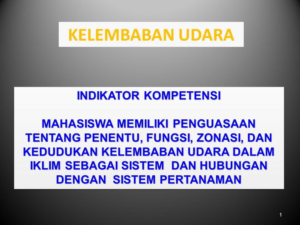 1 KELEMBABAN UDARA INDIKATOR KOMPETENSI MAHASISWA MEMILIKI PENGUASAAN TENTANG PENENTU, FUNGSI, ZONASI, DAN KEDUDUKAN KELEMBABAN UDARA DALAM IKLIM SEBAGAI SISTEM DAN HUBUNGAN DENGAN SISTEM PERTANAMAN INDIKATOR KOMPETENSI MAHASISWA MEMILIKI PENGUASAAN TENTANG PENENTU, FUNGSI, ZONASI, DAN KEDUDUKAN KELEMBABAN UDARA DALAM IKLIM SEBAGAI SISTEM DAN HUBUNGAN DENGAN SISTEM PERTANAMAN