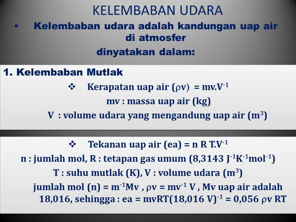 KELEMBABAN UDARA 2 Kelembaban udara adalah kandungan uap air di atmosfer dinyatakan dalam: 1.