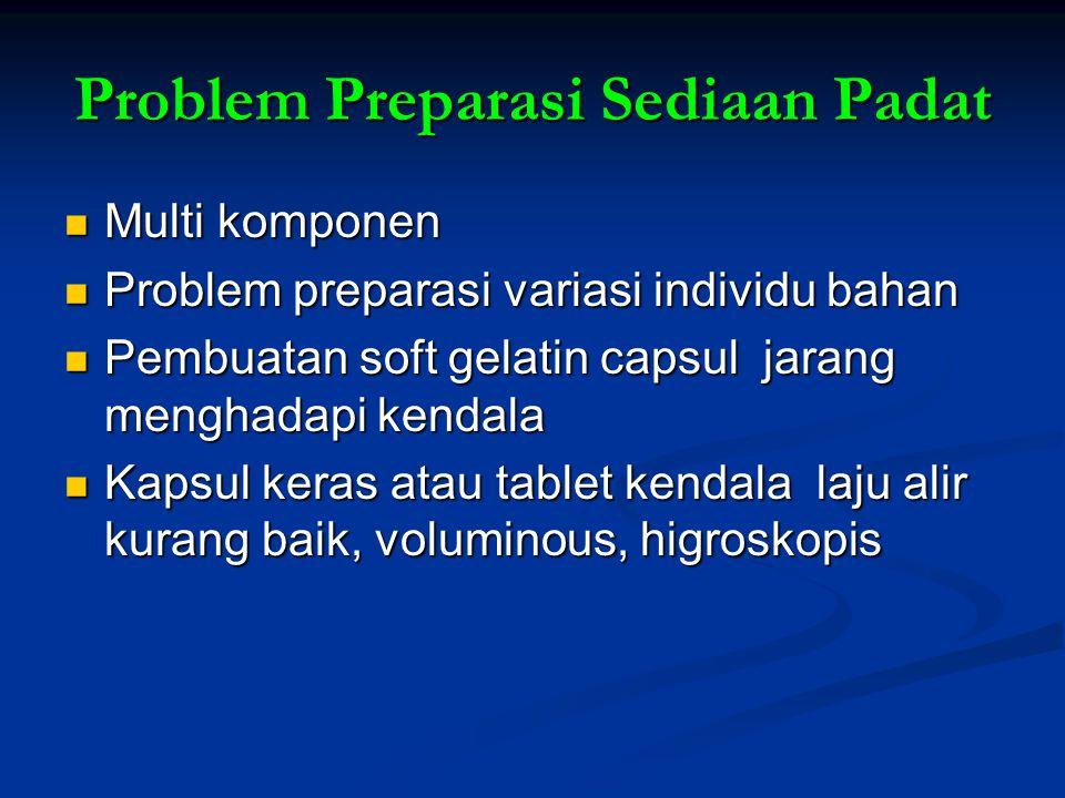 Problem Preparasi Sediaan Padat Multi komponen Multi komponen Problem preparasi variasi individu bahan Problem preparasi variasi individu bahan Pembua