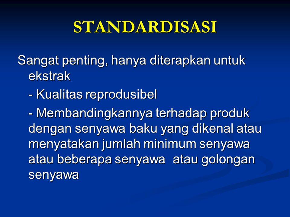 STANDARDISASI Sangat penting, hanya diterapkan untuk ekstrak - Kualitas reprodusibel - Membandingkannya terhadap produk dengan senyawa baku yang dikenal atau menyatakan jumlah minimum senyawa atau beberapa senyawa atau golongan senyawa