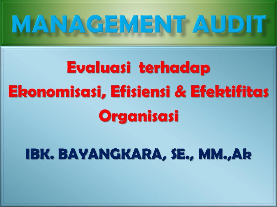 20 April 2015Konsep Dasar/Bay, Ibeka1 Evaluasi terhadap Ekonomisasi, Efisiensi & Efektifitas Organisasi IBK. BAYANGKARA, SE., MM.,Ak