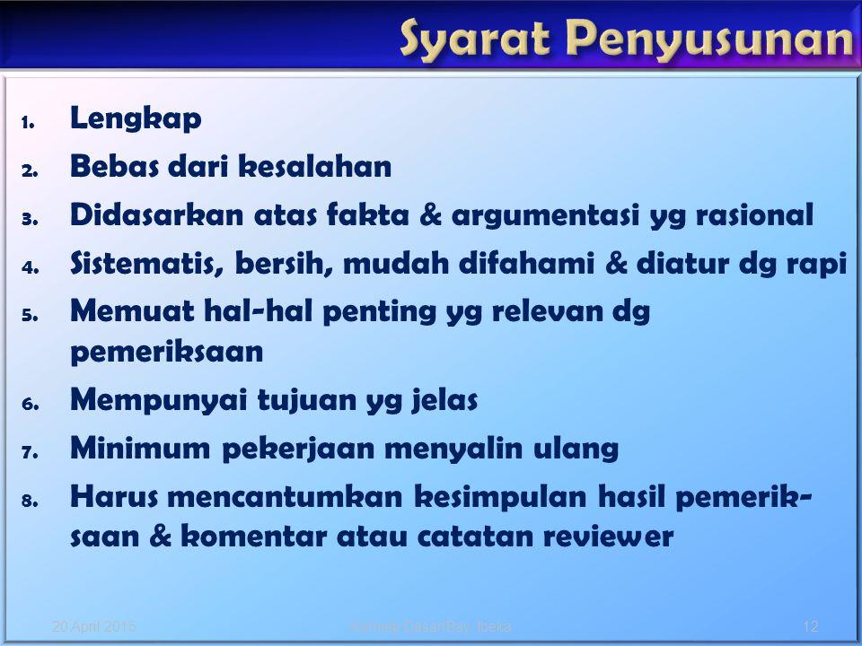 1. Lengkap 2. Bebas dari kesalahan 3. Didasarkan atas fakta & argumentasi yg rasional 4. Sistematis, bersih, mudah difahami & diatur dg rapi 5. Memuat