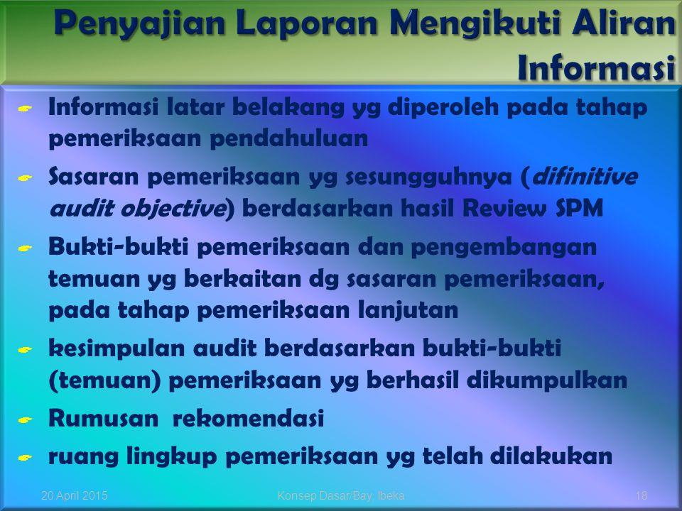  Informasi latar belakang yg diperoleh pada tahap pemeriksaan pendahuluan  Sasaran pemeriksaan yg sesungguhnya (difinitive audit objective) berdasar