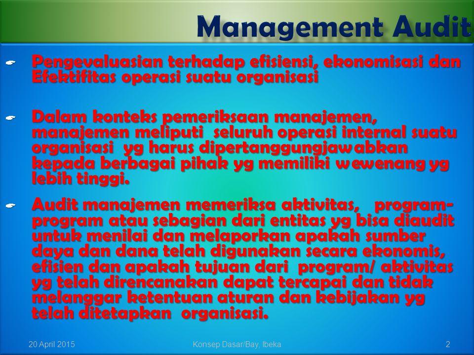  Pengevaluasian terhadap efisiensi, ekonomisasi dan Efektifitas operasi suatu organisasi  Dalam konteks pemeriksaan manajemen, manajemen meliputi se