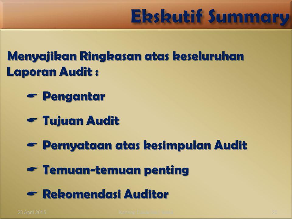 Menyajikan Ringkasan atas keseluruhan Laporan Audit :  Pengantar  Tujuan Audit  Pernyataan atas kesimpulan Audit  Temuan-temuan penting  Rekomend