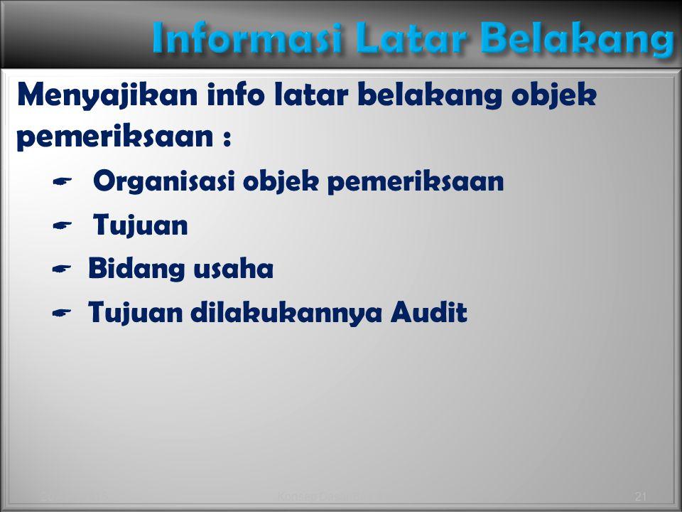 Menyajikan info latar belakang objek pemeriksaan :  Organisasi objek pemeriksaan  Tujuan  Bidang usaha  Tujuan dilakukannya Audit Menyajikan info