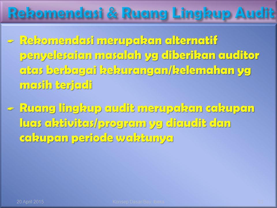  Rekomendasi merupakan alternatif penyelesaian masalah yg diberikan auditor atas berbagai kekurangan/kelemahan yg masih terjadi  Ruang lingkup audit