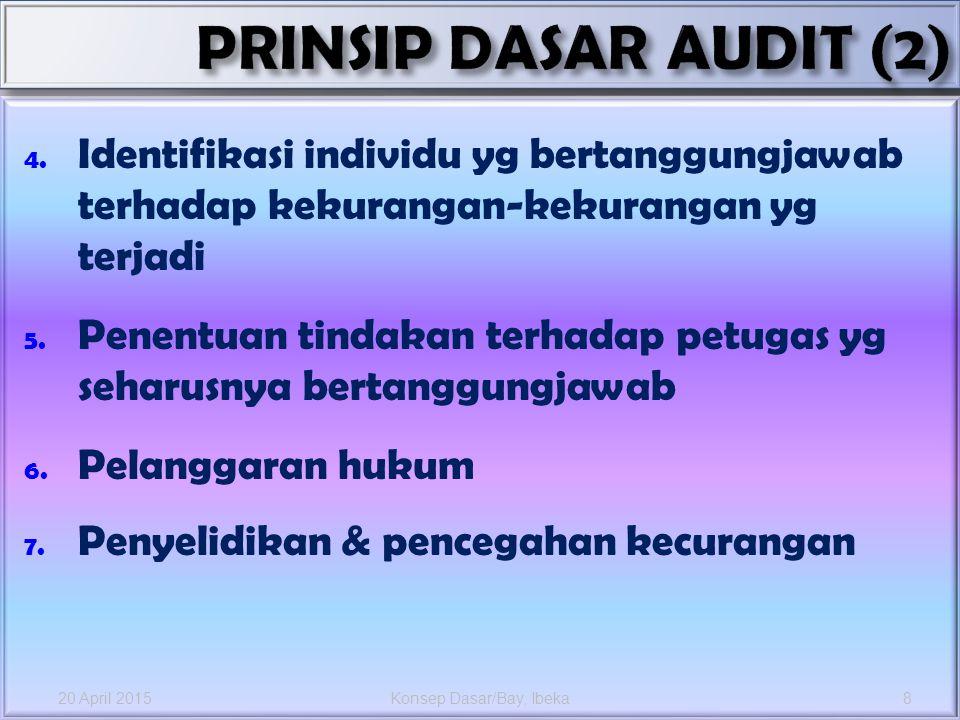 4. Identifikasi individu yg bertanggungjawab terhadap kekurangan-kekurangan yg terjadi 5. Penentuan tindakan terhadap petugas yg seharusnya bertanggun