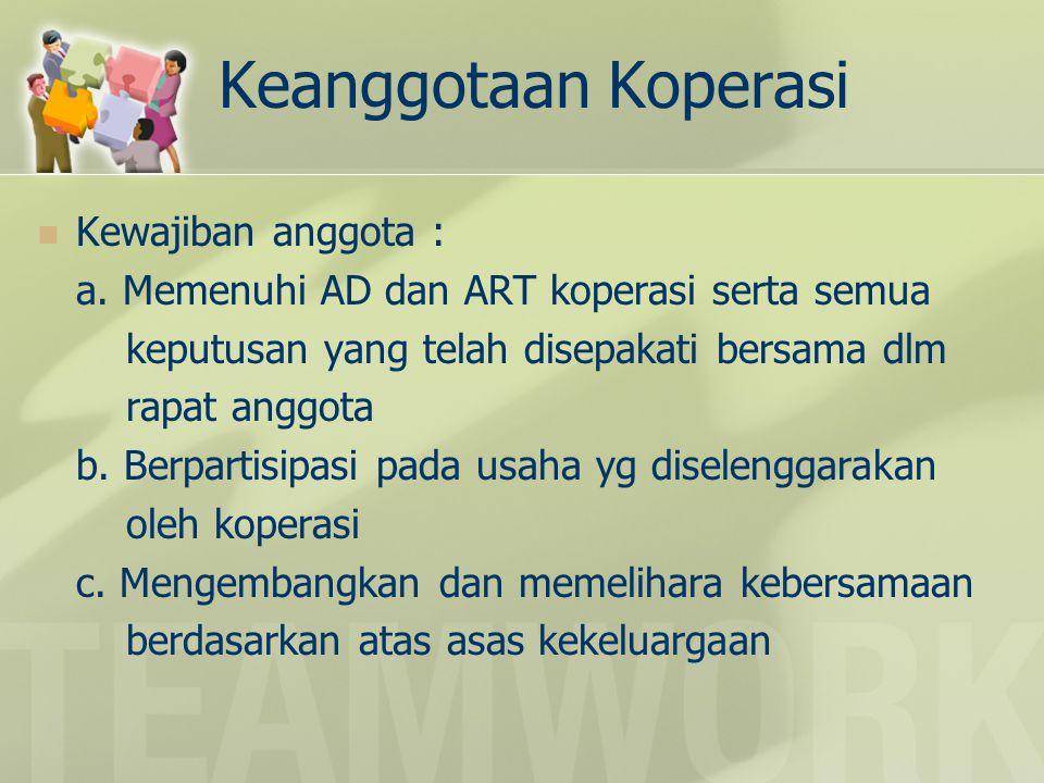 Keanggotaan Koperasi Kewajiban anggota : a. Memenuhi AD dan ART koperasi serta semua keputusan yang telah disepakati bersama dlm rapat anggota b. Berp