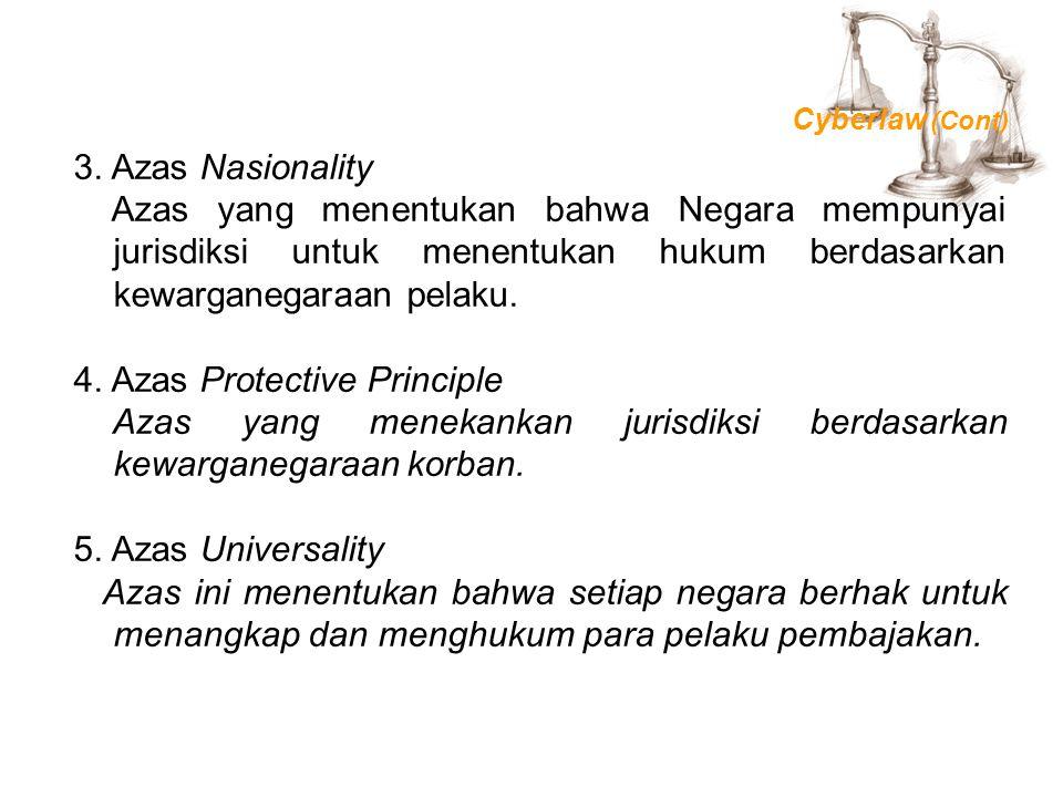 3. Azas Nasionality Azas yang menentukan bahwa Negara mempunyai jurisdiksi untuk menentukan hukum berdasarkan kewarganegaraan pelaku. 4. Azas Protecti