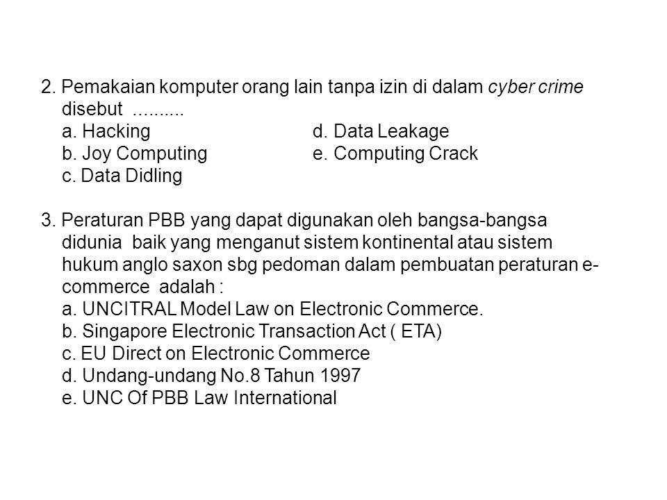 2. Pemakaian komputer orang lain tanpa izin di dalam cyber crime disebut.......... a. Hacking d. Data Leakage b. Joy Computing e. Computing Crack c. D