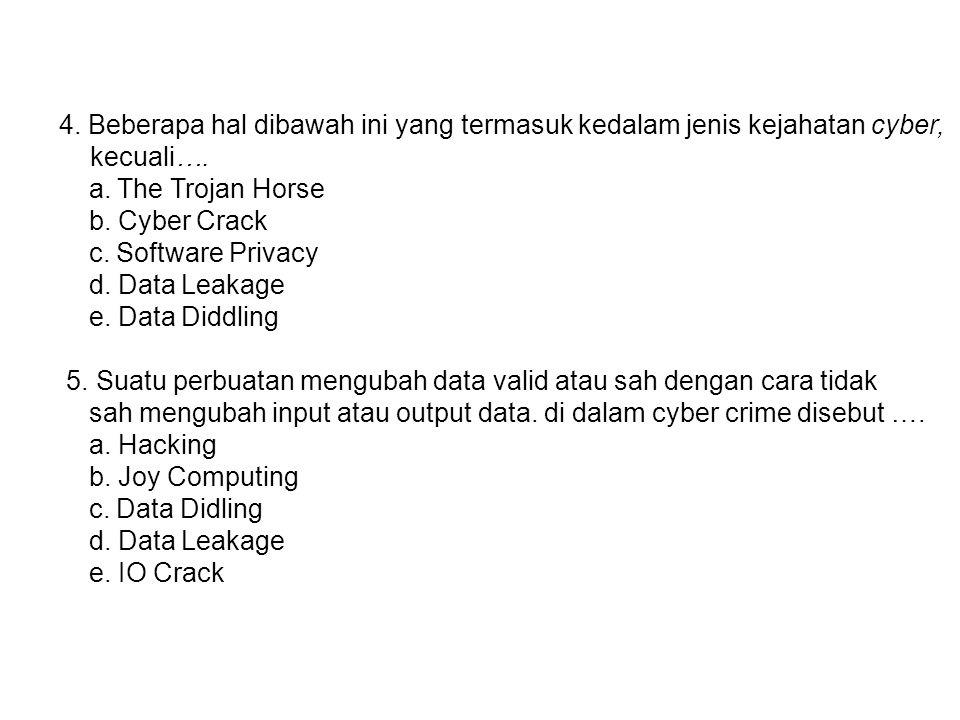 4. Beberapa hal dibawah ini yang termasuk kedalam jenis kejahatan cyber, kecuali…. a. The Trojan Horse b. Cyber Crack c. Software Privacy d. Data Leak