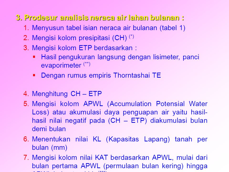 8.Melanjutkan pengisian kolom KAT dengan menambahkan nilai KAT bulan terakhir dengan nilai positif ( CH – ETP) bulan berikutnya, hasilnya adalah KAT bulan berikut.