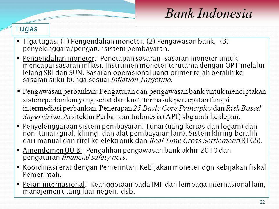 22 Bank Indonesia 22  Tiga tugas: (1) Pengendalian moneter, (2) Pengawasan bank, (3) penyelenggara/pengatur sistem pembayaran.  Pengendalian moneter