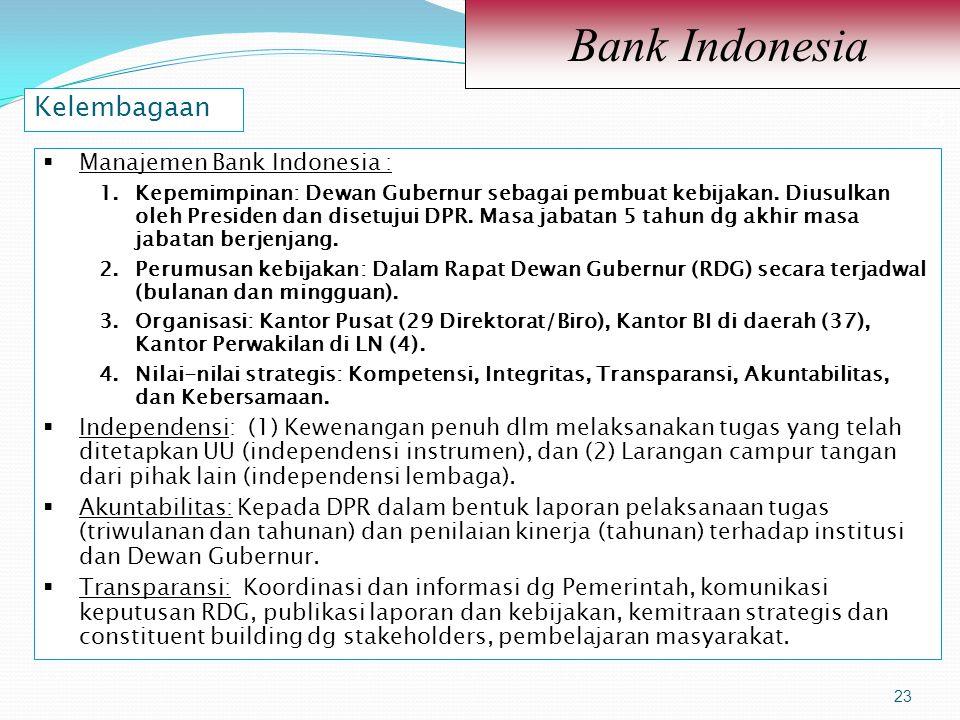 23 Bank Indonesia 23  Manajemen Bank Indonesia : 1.Kepemimpinan: Dewan Gubernur sebagai pembuat kebijakan. Diusulkan oleh Presiden dan disetujui DPR.