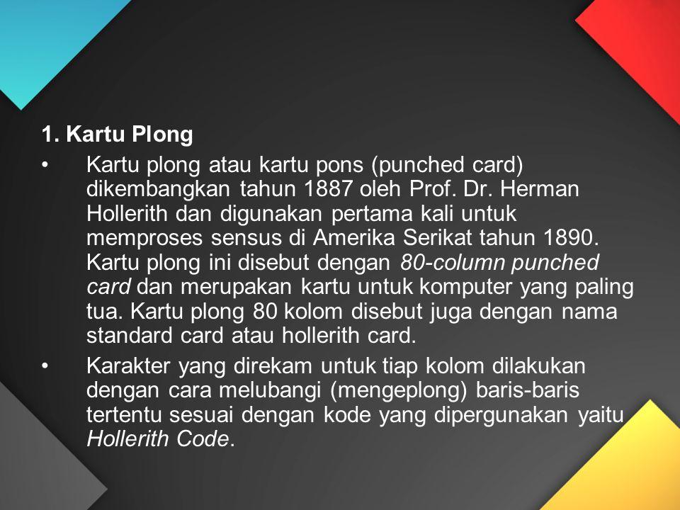 1. Kartu Plong Kartu plong atau kartu pons (punched card) dikembangkan tahun 1887 oleh Prof. Dr. Herman Hollerith dan digunakan pertama kali untuk mem