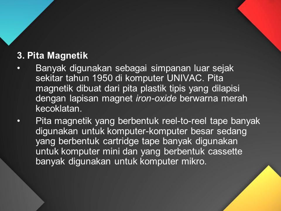 3. Pita Magnetik Banyak digunakan sebagai simpanan luar sejak sekitar tahun 1950 di komputer UNIVAC. Pita magnetik dibuat dari pita plastik tipis yang
