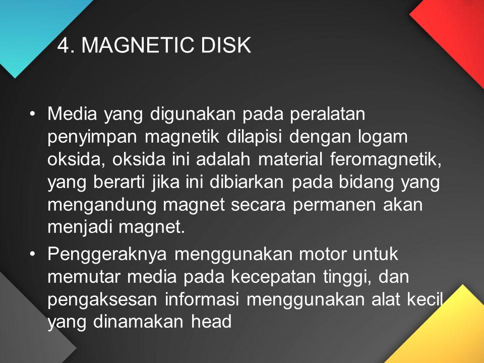 Media yang digunakan pada peralatan penyimpan magnetik dilapisi dengan logam oksida, oksida ini adalah material feromagnetik, yang berarti jika ini dibiarkan pada bidang yang mengandung magnet secara permanen akan menjadi magnet.