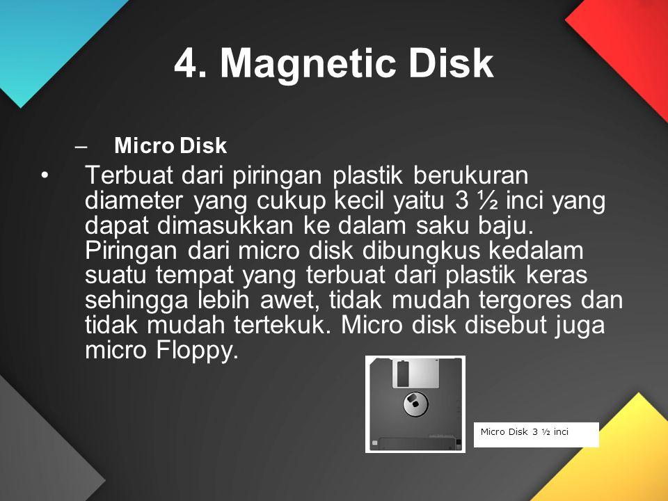 4. Magnetic Disk –Micro Disk Terbuat dari piringan plastik berukuran diameter yang cukup kecil yaitu 3 ½ inci yang dapat dimasukkan ke dalam saku baju