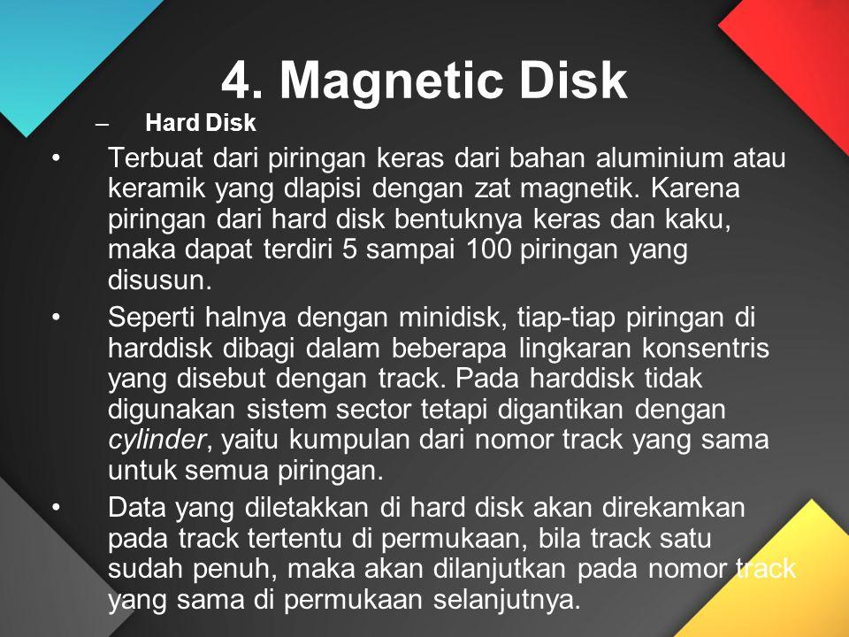 4. Magnetic Disk –Hard Disk Terbuat dari piringan keras dari bahan aluminium atau keramik yang dlapisi dengan zat magnetik. Karena piringan dari hard