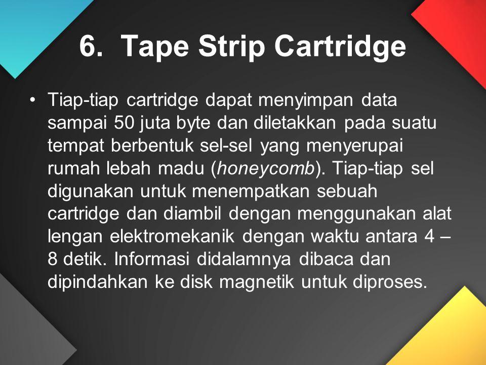 6. Tape Strip Cartridge Tiap-tiap cartridge dapat menyimpan data sampai 50 juta byte dan diletakkan pada suatu tempat berbentuk sel-sel yang menyerupa