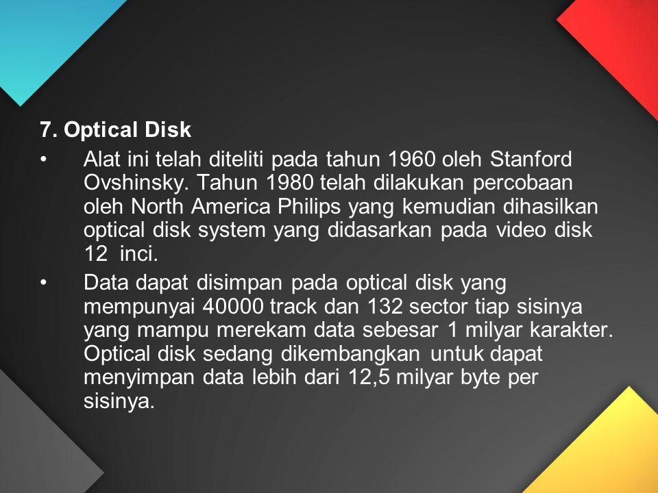 7. Optical Disk Alat ini telah diteliti pada tahun 1960 oleh Stanford Ovshinsky. Tahun 1980 telah dilakukan percobaan oleh North America Philips yang