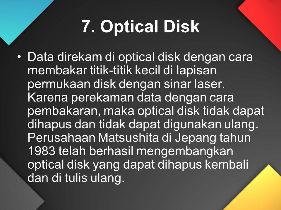 7. Optical Disk Data direkam di optical disk dengan cara membakar titik-titik kecil di lapisan permukaan disk dengan sinar laser. Karena perekaman dat