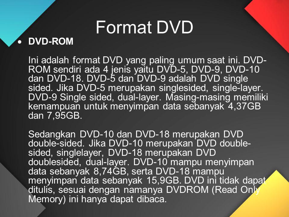 Format DVD  DVD-ROM Ini adalah format DVD yang paling umum saat ini. DVD- ROM sendiri ada 4 jenis yaitu DVD-5, DVD-9, DVD-10 dan DVD-18. DVD-5 dan DV