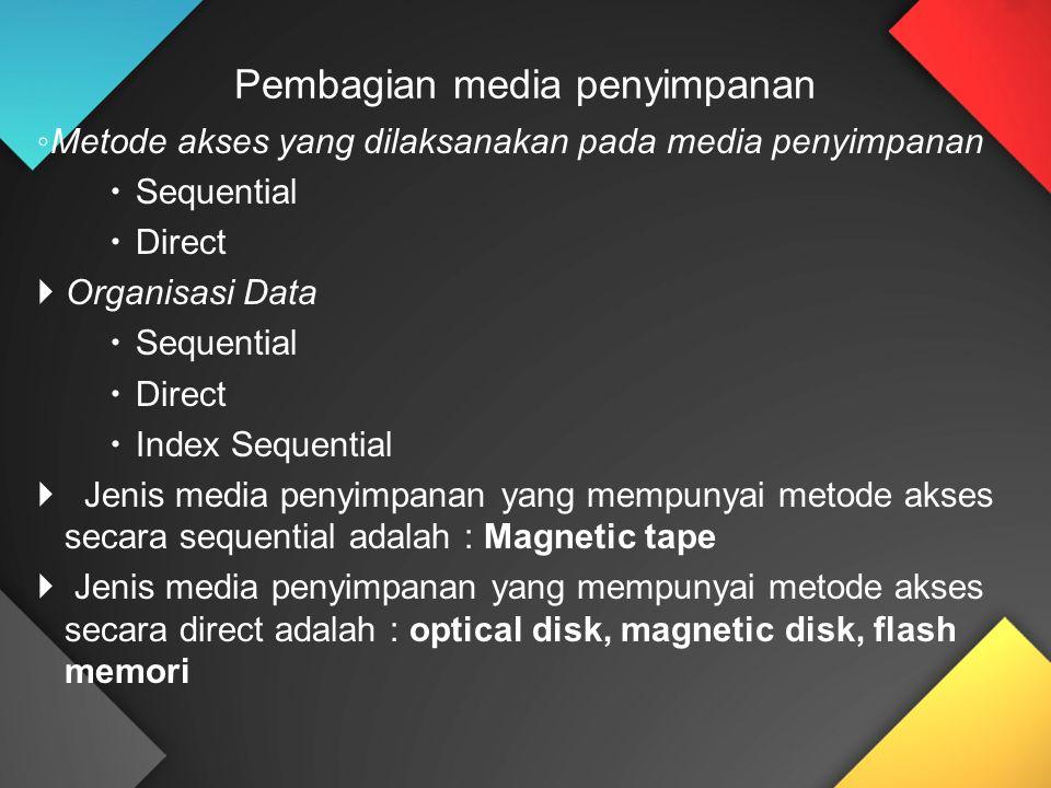 ◦ Metode akses yang dilaksanakan pada media penyimpanan  Sequential  Direct  Organisasi Data  Sequential  Direct  Index Sequential  Jenis media penyimpanan yang mempunyai metode akses secara sequential adalah : Magnetic tape  Jenis media penyimpanan yang mempunyai metode akses secara direct adalah : optical disk, magnetic disk, flash memori Pembagian media penyimpanan
