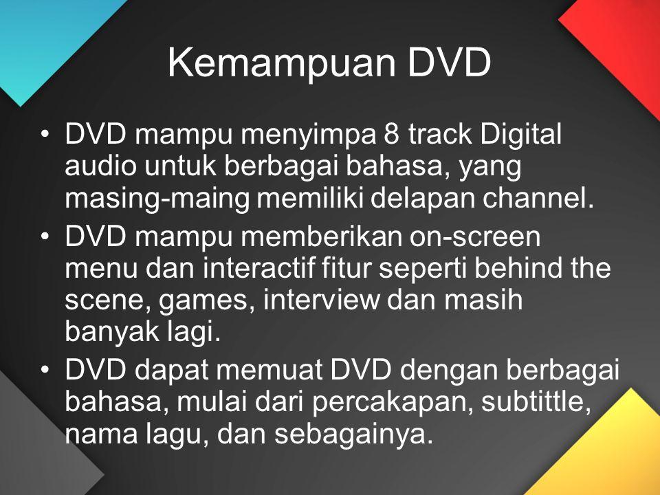 Kemampuan DVD DVD mampu menyimpa 8 track Digital audio untuk berbagai bahasa, yang masing-maing memiliki delapan channel. DVD mampu memberikan on-scre