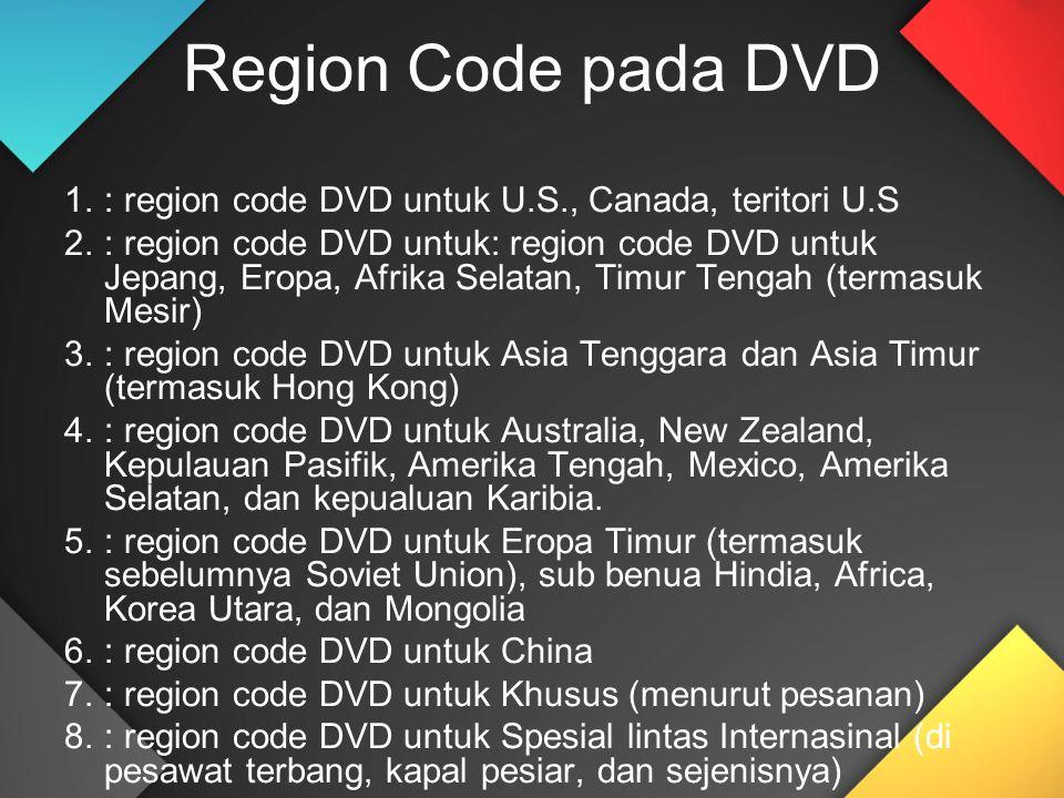 Region Code pada DVD 1.: region code DVD untuk U.S., Canada, teritori U.S 2.: region code DVD untuk: region code DVD untuk Jepang, Eropa, Afrika Selatan, Timur Tengah (termasuk Mesir) 3.: region code DVD untuk Asia Tenggara dan Asia Timur (termasuk Hong Kong) 4.: region code DVD untuk Australia, New Zealand, Kepulauan Pasifik, Amerika Tengah, Mexico, Amerika Selatan, dan kepualuan Karibia.