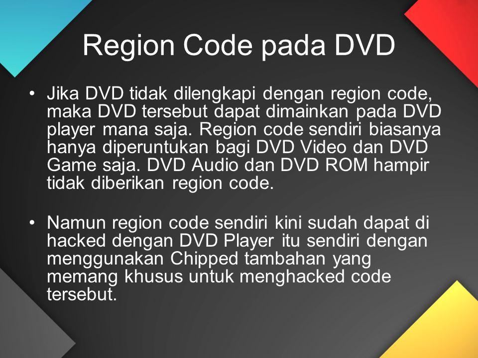 Region Code pada DVD Jika DVD tidak dilengkapi dengan region code, maka DVD tersebut dapat dimainkan pada DVD player mana saja. Region code sendiri bi