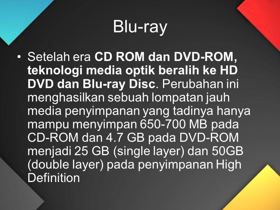Blu-ray Setelah era CD ROM dan DVD-ROM, teknologi media optik beralih ke HD DVD dan Blu-ray Disc.