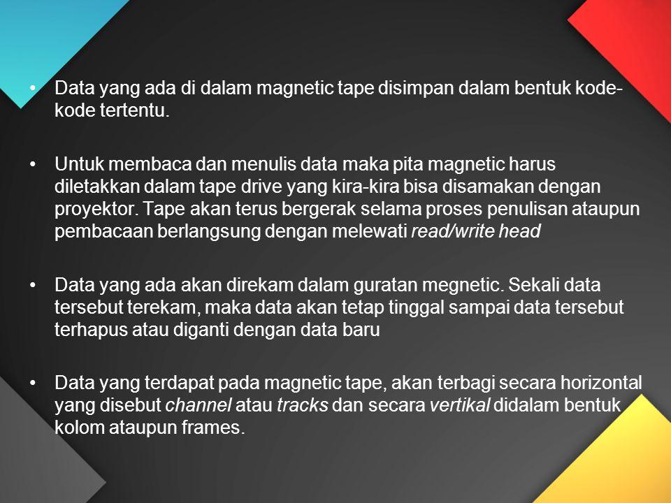 Data yang ada di dalam magnetic tape disimpan dalam bentuk kode- kode tertentu. Untuk membaca dan menulis data maka pita magnetic harus diletakkan dal