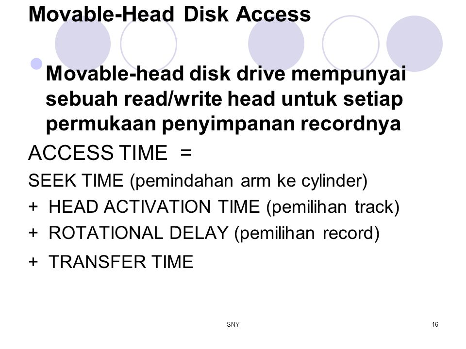 SNY16 Movable-Head Disk Access Movable-head disk drive mempunyai sebuah read/write head untuk setiap permukaan penyimpanan recordnya ACCESS TIME = SEE