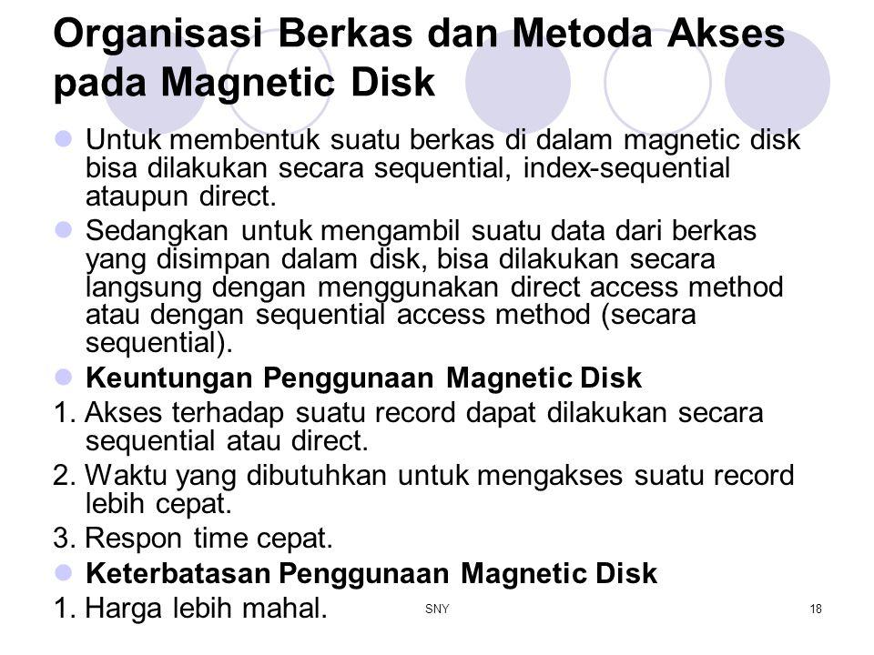 SNY18 Organisasi Berkas dan Metoda Akses pada Magnetic Disk Untuk membentuk suatu berkas di dalam magnetic disk bisa dilakukan secara sequential, inde